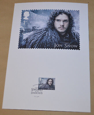 Game of Thrones Royal Mail A4 Souvenir Print Stamp card - Jon Snow