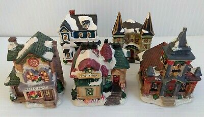 How To Store Christmas Village Houses.Various Christmas Village Ceramic Light Up Houses Toy Store Church Restaurant