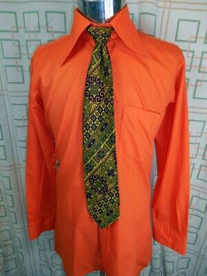 Vintage 1970s Very Bright Orange Poly/Cotton Dress Shirt Party Groovy Medium