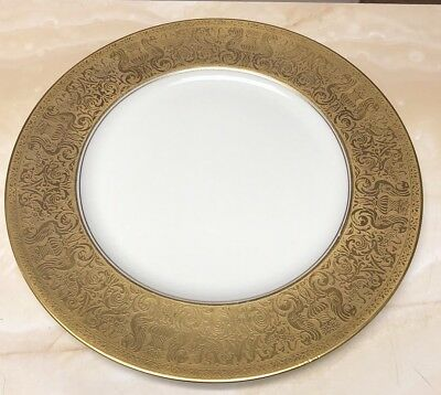 """Set of 2 Heinrich Co Selb Gold Dinner Plates Seahorses 10 3/4"""""""