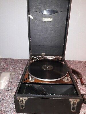 Vintage Alba Wind Up Portable Gramophone & Records In Working Order