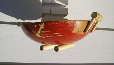 vintage wooden dough serving bowl old red paint anchor star nautical cabin decor