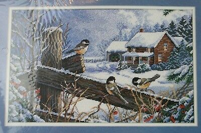 Sunset Needlepoint Kit Chickadees On A Fence Sam Timm NEW SEALED SHIPS NEXT DAY