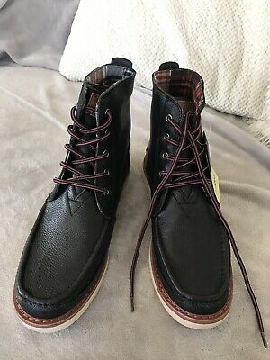d464ad27b86 NEW MEN'S TOMS SEARCHER BOOT Black Full Grain Leather Lace Up Boots ...