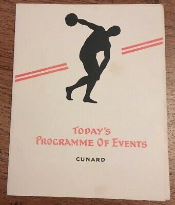 Todays Programme Of Events 1920''s Rms Caronia Cunard Line Steamship Ocean Liner