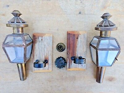 Sconces Glass & Brass Pair of (2) Carriage Lanterns Lamps Candle Holders Antique