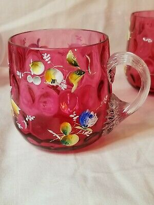 Antique Hand Painted Bohemian Moser Cranberry Glass Cups - Set of 5