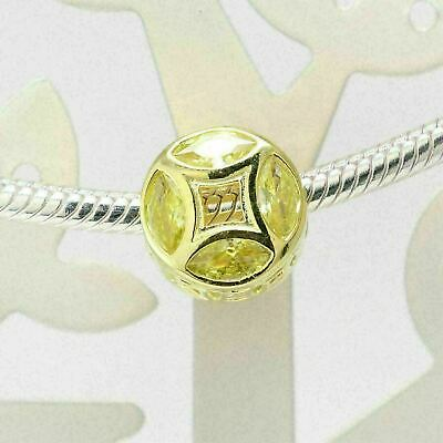 Authentic Pandora Charms 925 ALE Sterling Silver Gold Coin Cubic Zirconia Bead