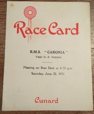 1931 Rms Caronia Small Race Card W/ Sketches Cunard Line Steamship Ocean Liner