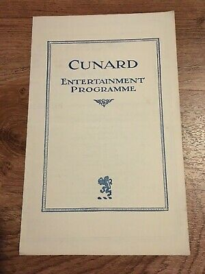 Rare1927 Rms Caronia Cunard Entertainment Programme Steamship Oceanliner