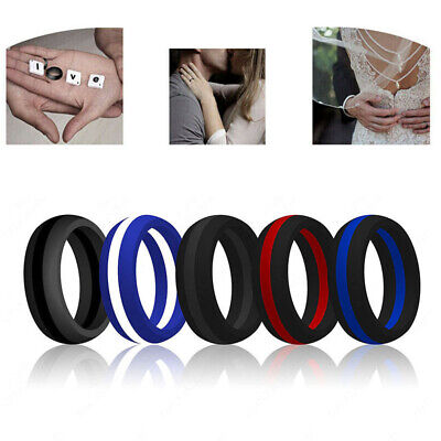 Striped Silicone Wedding Ring Band Thin Line FlexFit Medical Grade Athletic Men