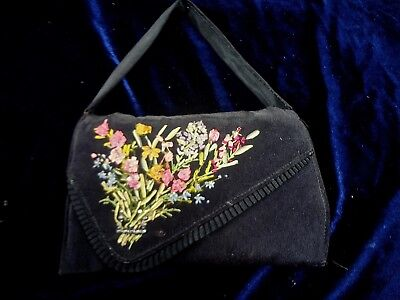 Vintage Fab Panel Of Silk Ribbon Work Embroidery On Small Black Purse
