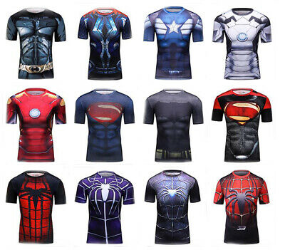 Mens Marvel Superhero Athletic Compression Workout Cosplay T Shirts Costume Tops