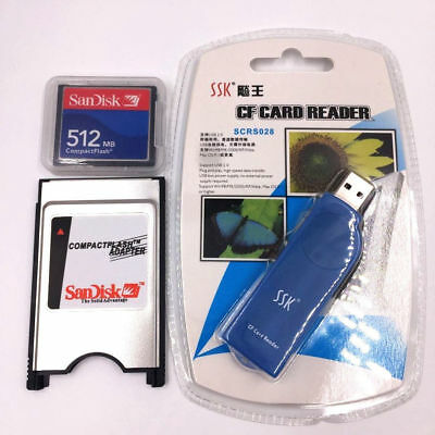 512MB Compact Flash Memory Card CF Card +PCMCIA Adapter+SSK USB2.0 reader FANUC