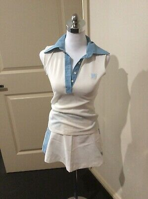 Vintage Tennis Outfit Size 10 Skirt and Top Blue & White Salvado FREE SHIPPING