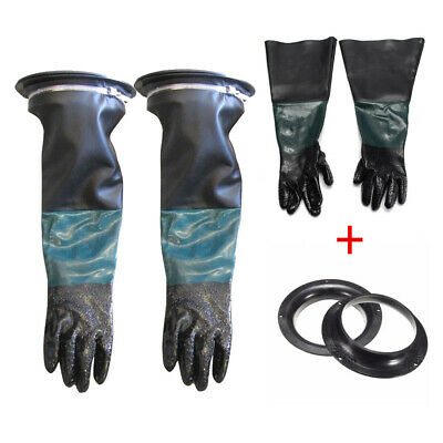 Heavy Duty 24'' Long Sand Blast Cabinet Gloves With Glove Holders & Clamps