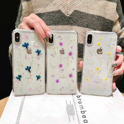 Real Flower Bling Clear Rubber Soft Case Cover For iPhone XS Max XR X 8 6 7 Plus