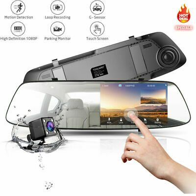 "TOGUARD 4.3"" Rear View Mirror Dash Car Reverse Camera Kits Double Cam FHD 1080P"