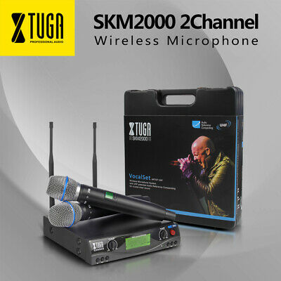XTUGA SKM2000 UHF Wireless Microphone System 2Channel 2 Mic Adjustable Frequency