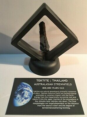 """""""RARE"""" 8.5 Gram TEKTITE Museum Quality with stand and label, asteroid, Comet"""