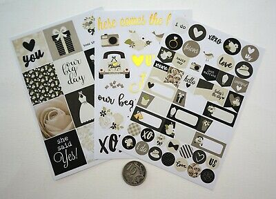 NO 304 Scrapbooking - 3 Sheets of  Wedding Stickers - Embellishments