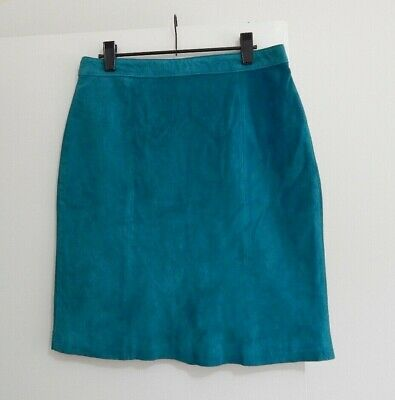 VINTAGE Global Identity Turquoise Genuine Suede/Leather Short SKIRT 10?12?