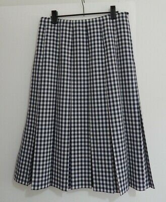 FLETCHER JONES Vintage Navy & White Check Box Pleat Skirt Wool Blend 10?12?