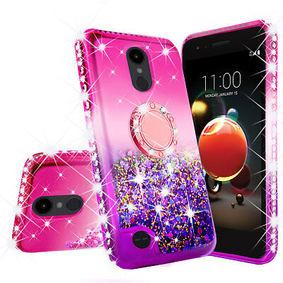 LG Phoenix 4 Liquid Glitter Ring Stand Shock Proof Case Cover with Neck Strap