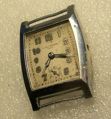 Gents Sterling 0.935 Silver C Bucherer Cal 10E Swiss Vintage Antique Watch