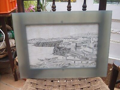 Framed Drawing of Praia dos Pescadores Albufeira, Portugaul