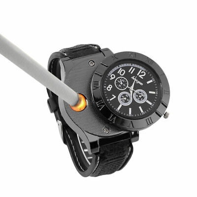 Cool Men Unique Quartz Watch Windproof Fireless USB Rechargable Electric Lighter