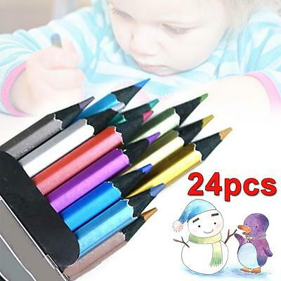 2x 12 Perfect Art Drawing Color Metallic Sketch Pencil for Adult Colouring AC