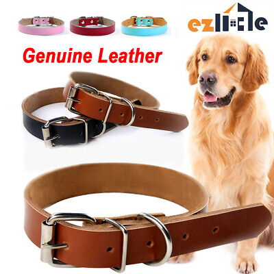 Genuine Leather Real Leads Dog Collar Cow Pet Cowhide available Puppy M L