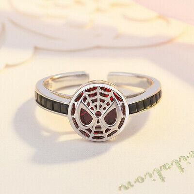 Spiderman 925 Silver Ring Red Handmade Couple Lovers Rings Adjustable Size 6/7/8