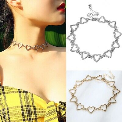 Punk Metal Heart Choker Necklace Chains Women Bib Chunky Collar Necklaces Chic