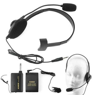 Stage Wireless Lavalier Lapel Headset Microphone System Mic FM Transmitter AC