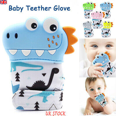 Silicone Baby Teether Dinosaur Teething Mitten Mitts Glove Wrapper Dummy Toy UK