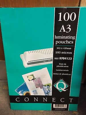 NEW A3 x 100 Laminating Pouches 100 Micron (303 x 426mm)