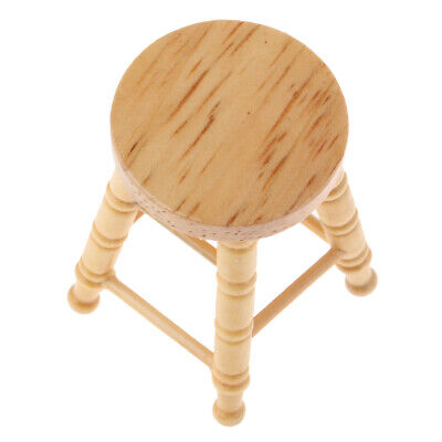 Doll House Miniature Pub Bar Stool Furniture Living Room Wooden Chair 1:12