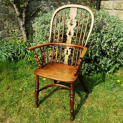 C19th Elm & Ash Georgian High Back Windsor Country Armchair Carver (Antique)
