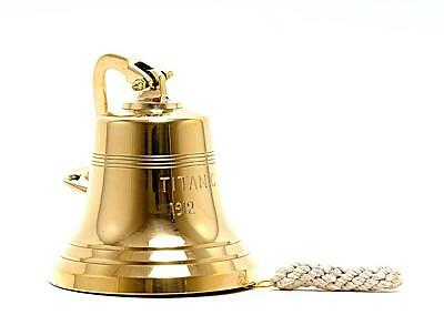 "8"" Titanic Brass Ship Bell Wall Hanging Nautical Decor. (Titanic 1912 Engraved)"