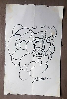 Pablo Picasso rare lithograph hand signed ink drawing art invest male portrait