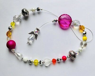 Stunning Hot Pink Yellow & White Crystal Sun Light  Catcher With Angel.-)