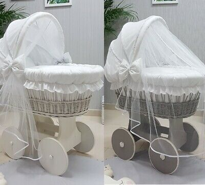 Wicker Moses Basket And Hood With Tulle + Chassis + Wheels +Bedding White Colour