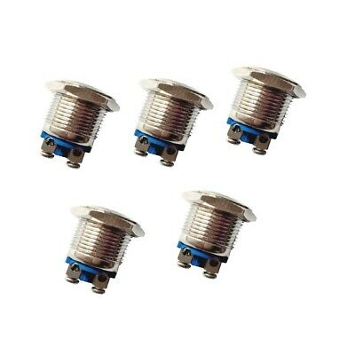 16mm Waterproof Momentary Self-reset Push Button Silver Contacts Switch 5pcs