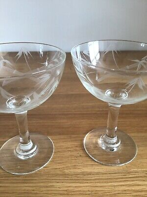 Vintage Retro Champagne Glass Pair Bamboo Etched Saucer Cocktail 1950s