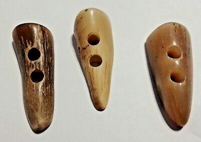 3 X 46-51mm 2-Hole Horn Toggles (Suitable for Duffle/Trench, Genuine, New)
