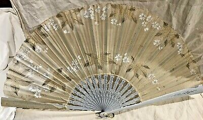 """Antique 13 1/2"""" Painted Wood And Hand Painted Floral On Sheer Silk Hand Fan"""
