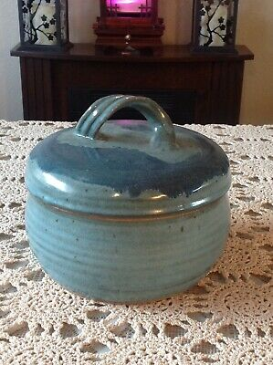 Handmade Artistic  Pottery Bowl With Lid Blue Signed R & L Issaquah Wa. Charity