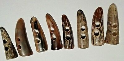 8 X 46-51mm 2-Hole Horn Toggles (Duffle/Trench, New, Genuine, Second's)